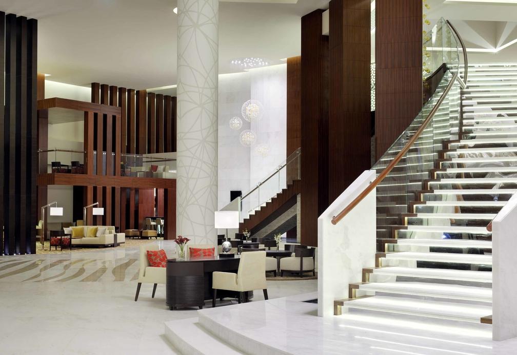 The Dubai Marriott Hotel Al Jaddaf lobby.