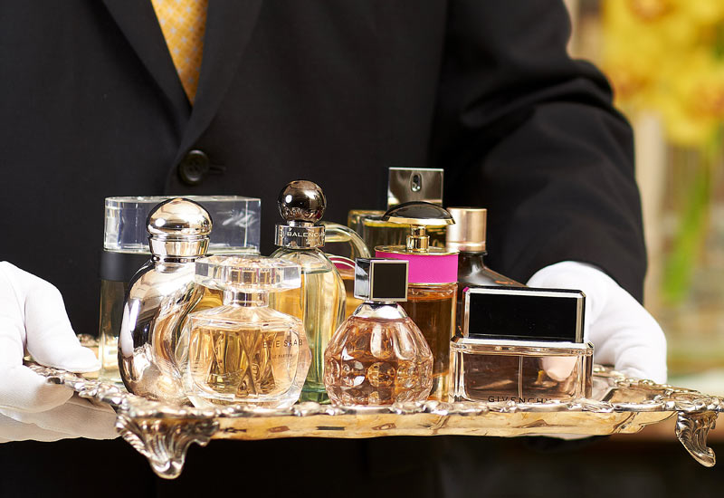 The selection of fragrances from Rosewood Corniche's fragrance butler
