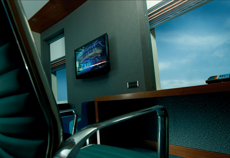 Aloft guest rooms, which are equipped with a plug and play device connected to a 42 inch LCD TV.