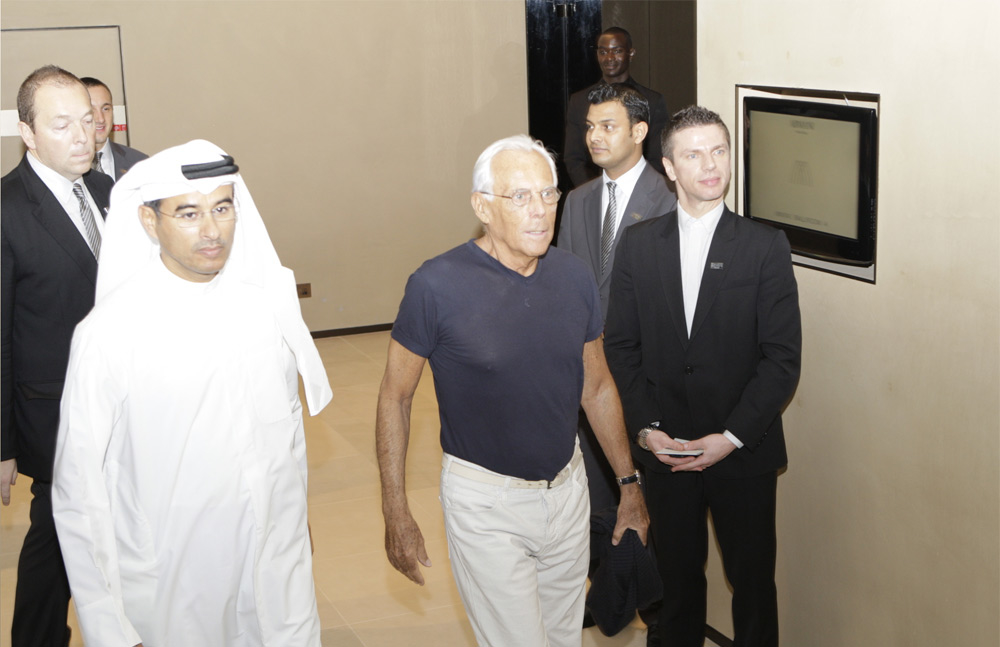 Giorgio Armani with Emaar Properties chairman Mohamed Alabbar.