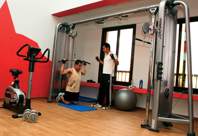Staff at IHG Dubai Festival City's housing complex, The Oasis at Silicon Oasis, spend time in the gym.