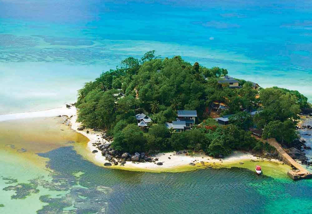 The 10-villa resort is located on a private island off the coast of the Seychelles.