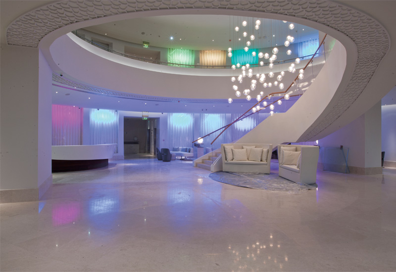 The lobby's light up walls allow for different moods to be created.