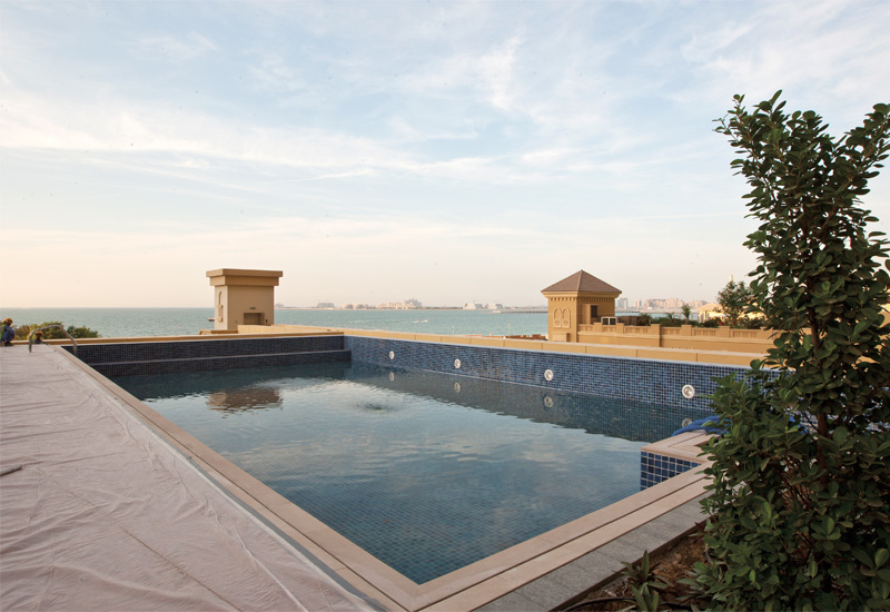 This photo of the pool captures the beautiful view overlooking The Palm.