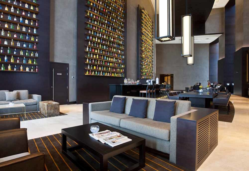 The lobby lounge at JW Marriott Marquis Dubai is inspired by the Great Room concept, with space to relax, meet, connect and dine.