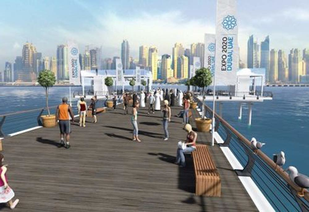 The Boardwalk on Palm Jumierah will include an East and West Pier - each stretching 100 metres out to sea.