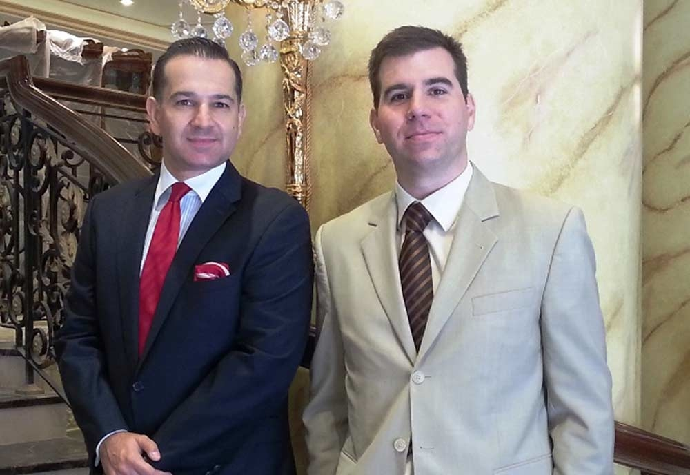 The Royal Rose Hotel's new deputy general manager Nickolas Chatzipetros and front office manager Thanos Tsinias.