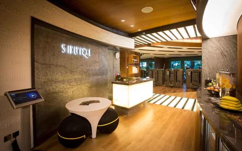 The refurbished reception and juice bar at ShuiQi.