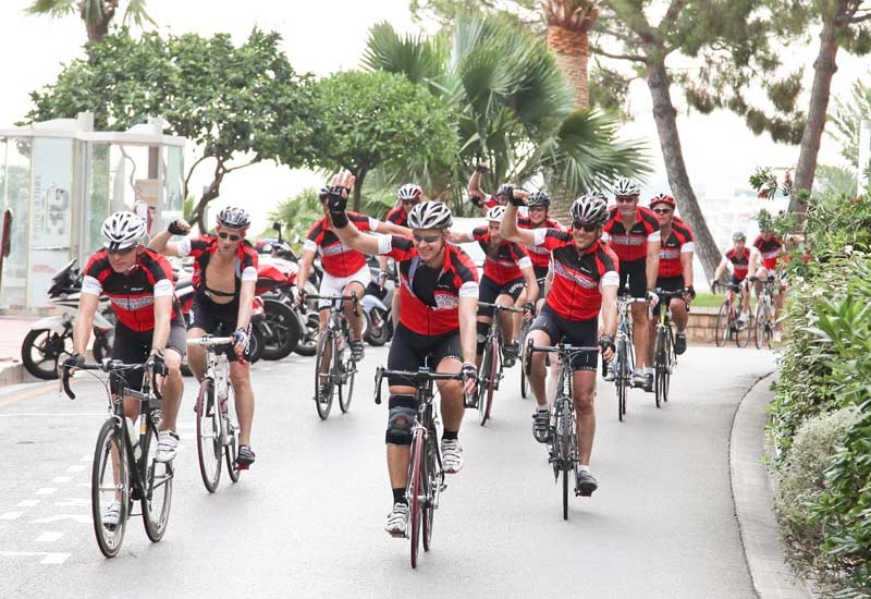 The Starwood team completing the ride in Monte Carlo