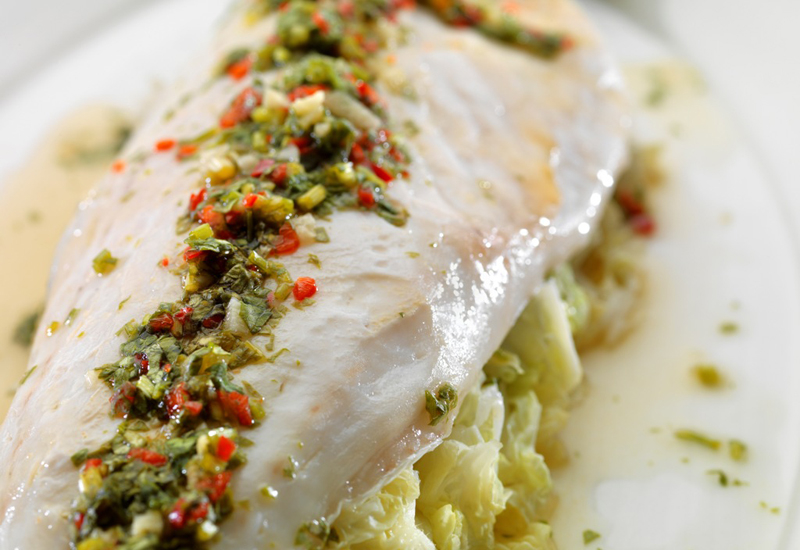 The Noodle House's steamed sea bass with fragrant lime dressing.