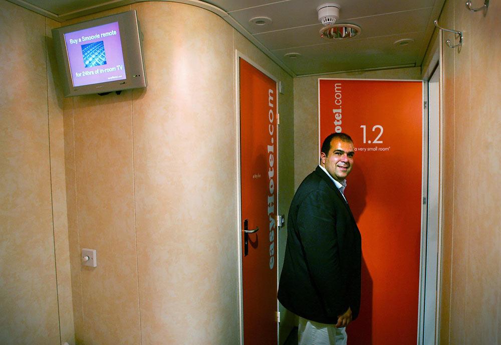 Sir Stelios Haji-Ioannou in his easyHotel [Getty Images].