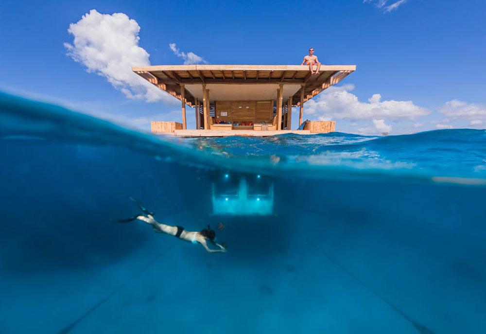 The Underwater Room at the Manta Resort on Pemba Island, Zanzibar.
