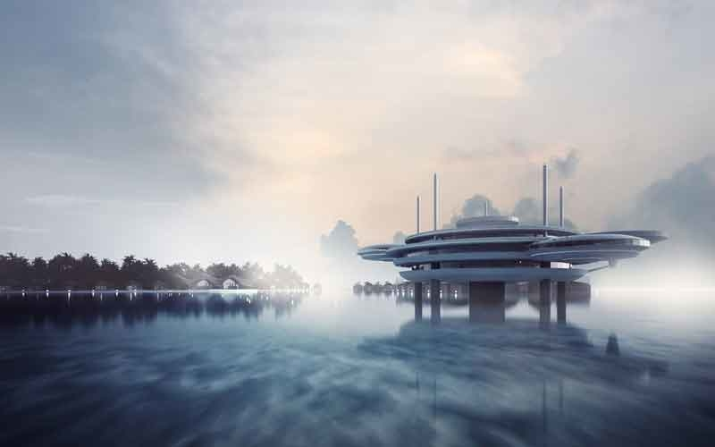 An artist's impression of the Water Discus Hotel.