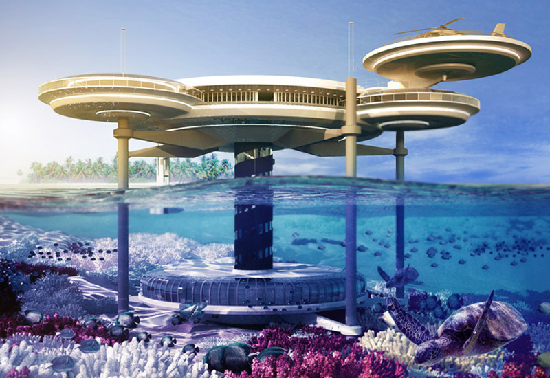 A vision of the underwater hotel.
