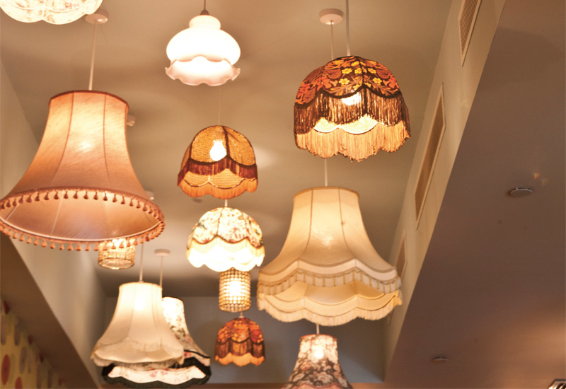 A mix of lampshades gives a quirky feel.
