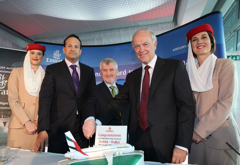 Declan Collier, chief executive, DAA ;Irish Minister for Transport, Tourism and Sport, Leo Varadkar TD ; Tim Clark, President Emirates Airline