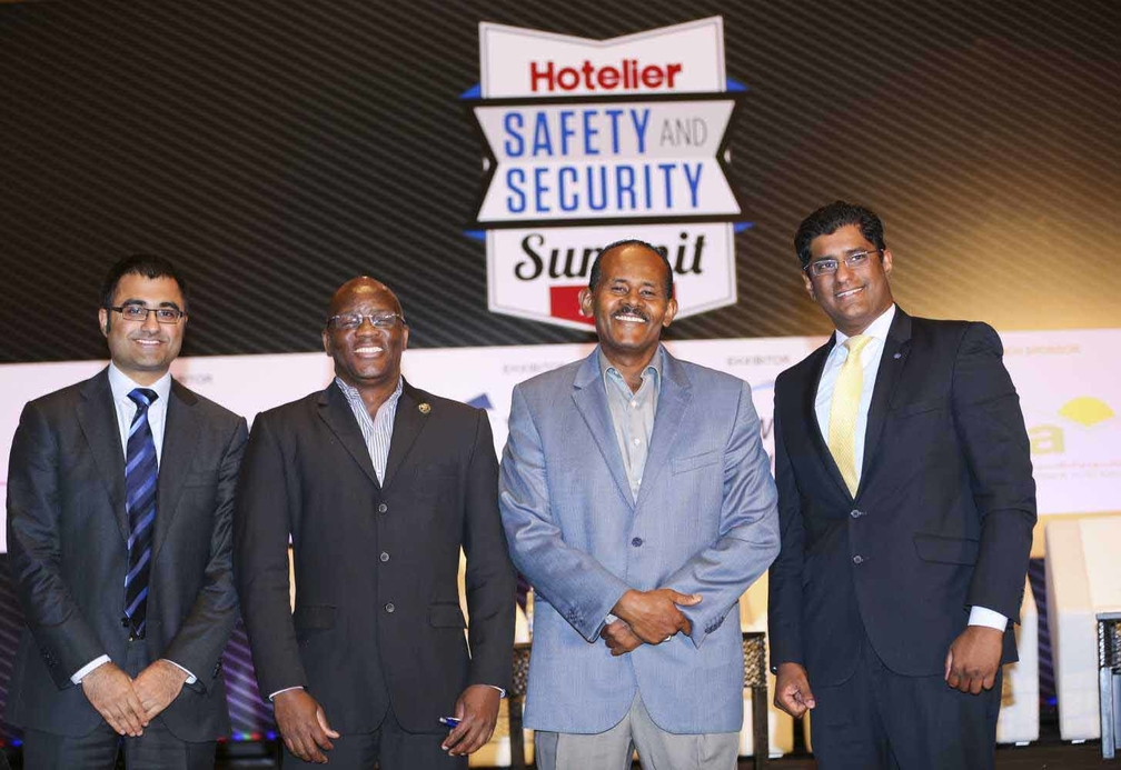 LR: Rahul Odedra, HotelierMiddleEast.com editor, William Maseko, Mohamed Suliman and Muhammad Ihsanullah Qamar.