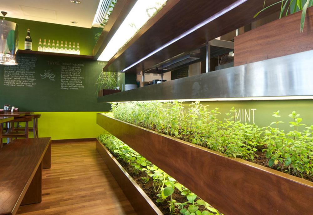 Internal farm producing organic herbs for Kuwaiti-based restaurant.