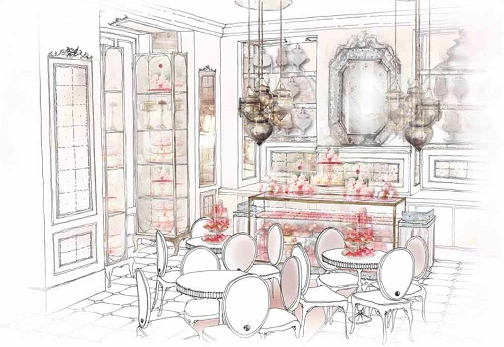 Hempel will add pink taffeta, moire silks, lace curtains, velvet cushions and tiny tables, in silver and cranberry tones to the design of the patisserie