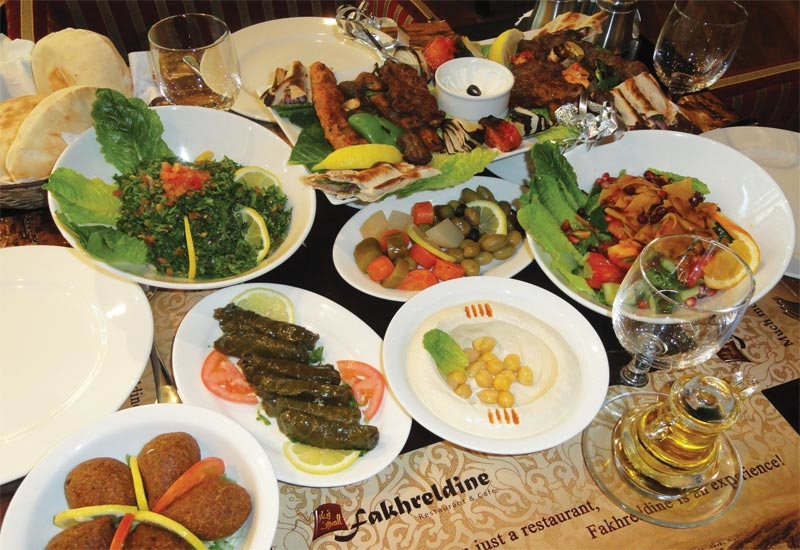 Selection of mezze at Fakhreldine