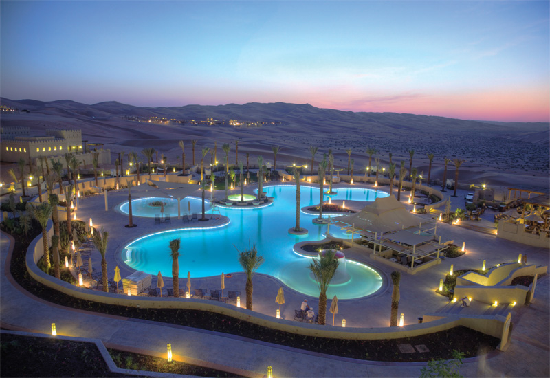 The pool lighting at Desert Islands Resort & Spa by Anantara was designed by Delta Lighting Solutions.