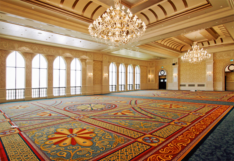 The vaulted ceilings, sparkling chandeliers and traditional, bright carpets create a grand ballroom at Ritz-Carlton Abu Dhabi, that can be used in its entirety or separated into three.