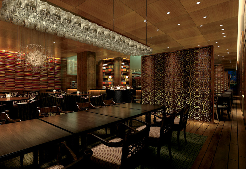 An exclusive rendering of Li Jiang, the signature Southeast Asian restaurant designed for Ritz-Carlton by Super Potato and expected to be a huge draw for local residents.