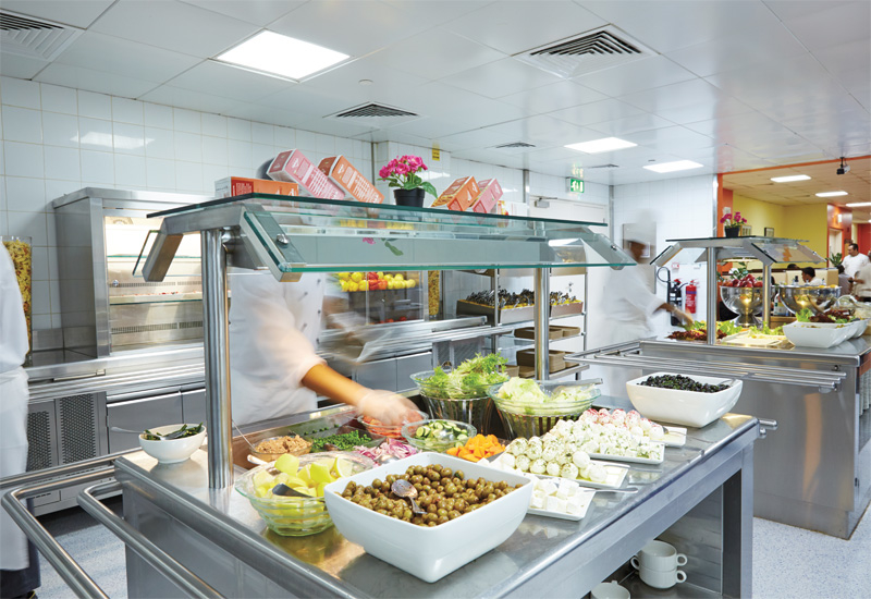 Inside Fairmont Bab Al Bahr's staff cafeteria, Makanna, which serves around 350-400 diners per meal.