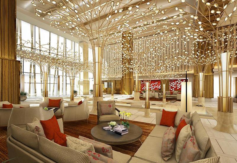 The lobby of the Mandarin Oriental Jumeira, Dubai
