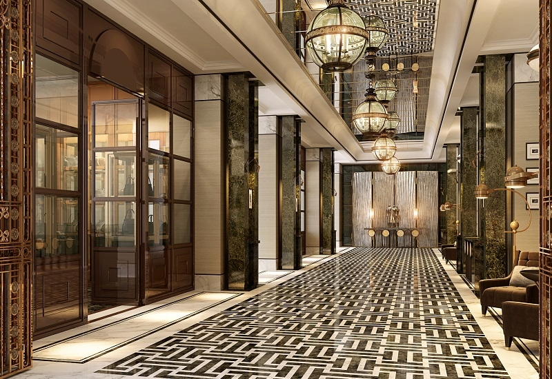 A rendering of the main entrance of the Waldorf in DIFC