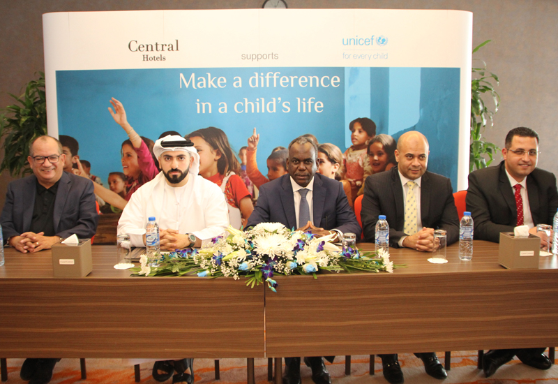 Ammar Kanaan, group general manager of Central Hotels; Abdulla AlAbdulla, chief operating officer of Central Hotels; ElTayeb Adam, UNICEFs GAO representative; Mohamed Hassan, general manager of Royal Central Hotel The Palm; Shady Dawad, general manager of Canal Central Hotel Business Bay