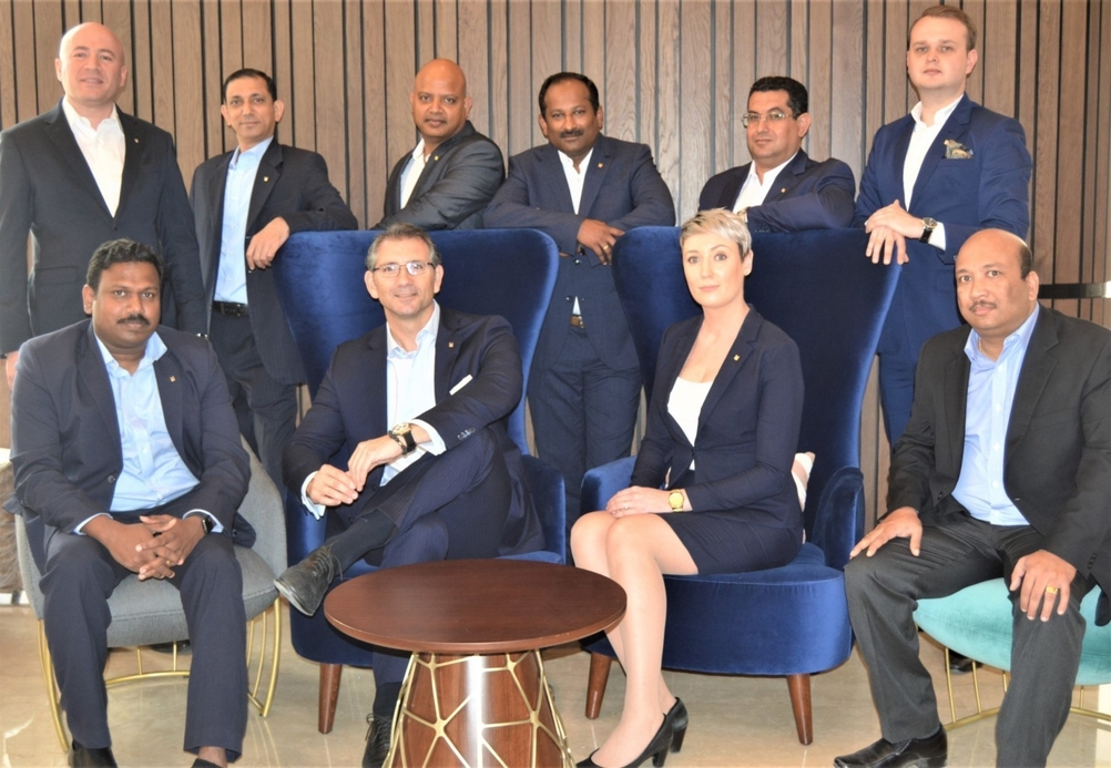 Seating left to right: Sajith Pillai - IT manager; Manuel Garcia - general manager; Ingrida Baltrusaityte - executive housekeeper and Rahul Punnapully - procurement manager Standing left to right: Ahmed Khaled - security manager; Subramanian Krishnan - director revenue; Dhinakaran Kuppusamy - director of human resources; Hareesh Haridasan - director finance & business support; Ismail Aly Elgammal - director of engineering; Jan Majerski - front office manager