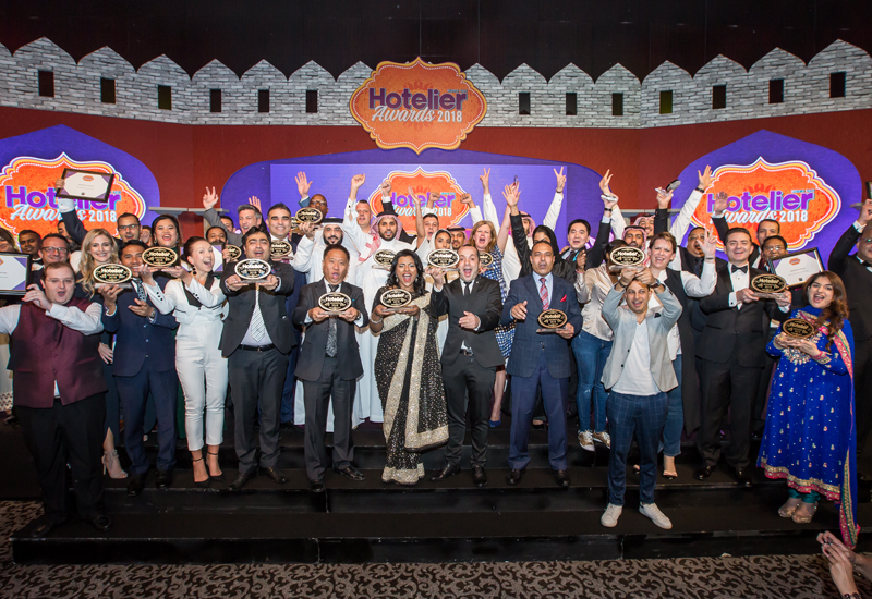The winners assemble at the Hotelier Middle East Awards 2018