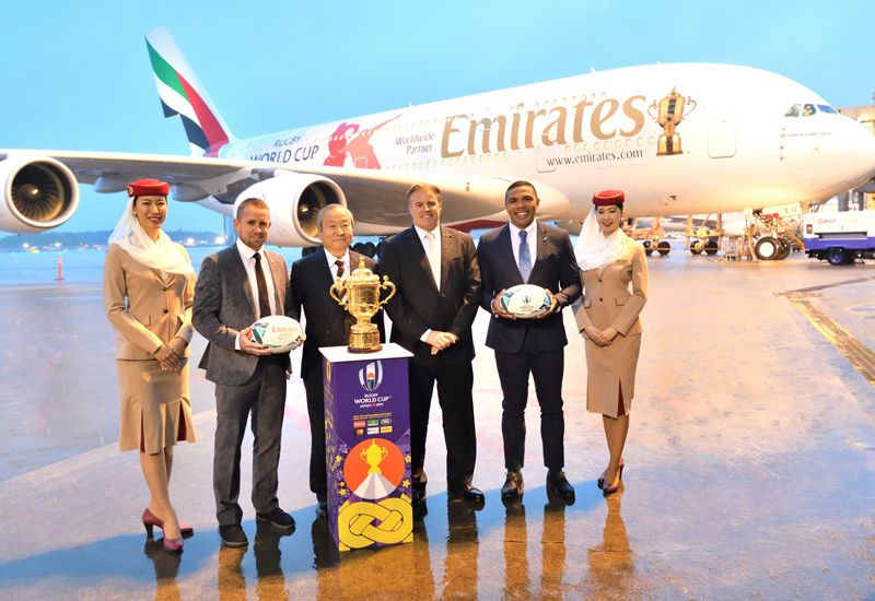 The Rugby World Cup trophy departed Dubai and landed in Tokyo