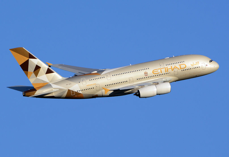 Etihad Airways has suspended all flights across the Gulf of Oman