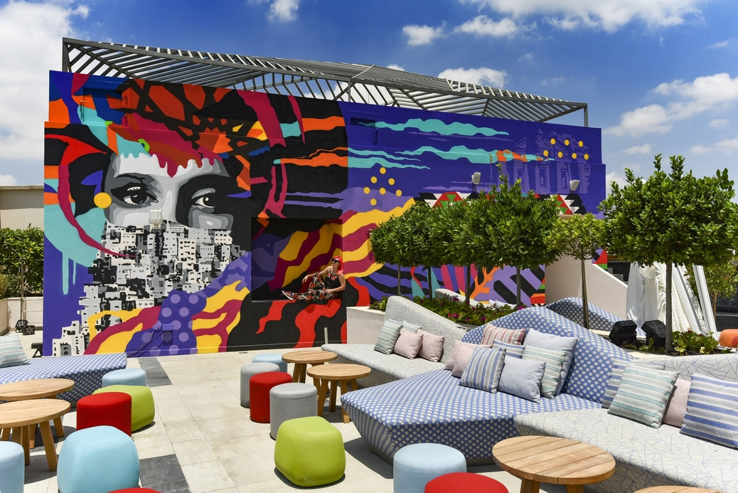 W Amman's poolside mural