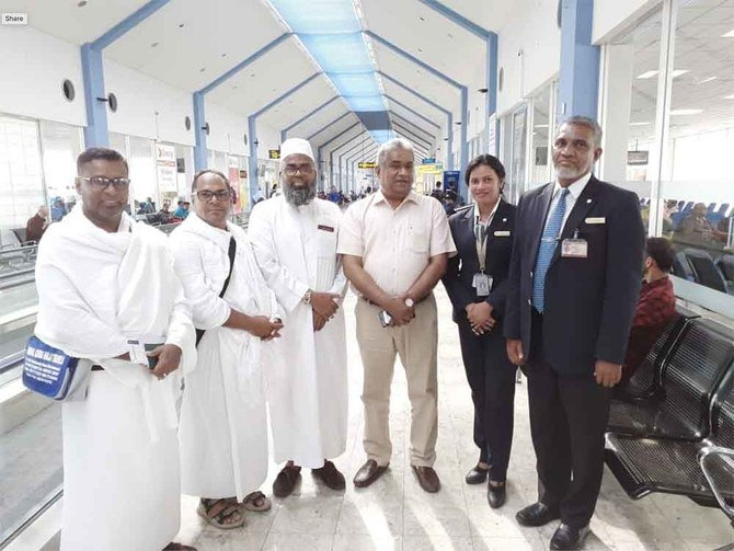 The first batch of Sri Lankan Haj pilgrims before their departure at Colombo Airport