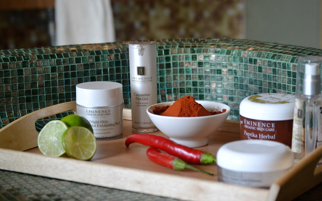 The spa uses products by Eminence Organic skin care formulated with fresh herbs, fruits, vegetables and pure spring water