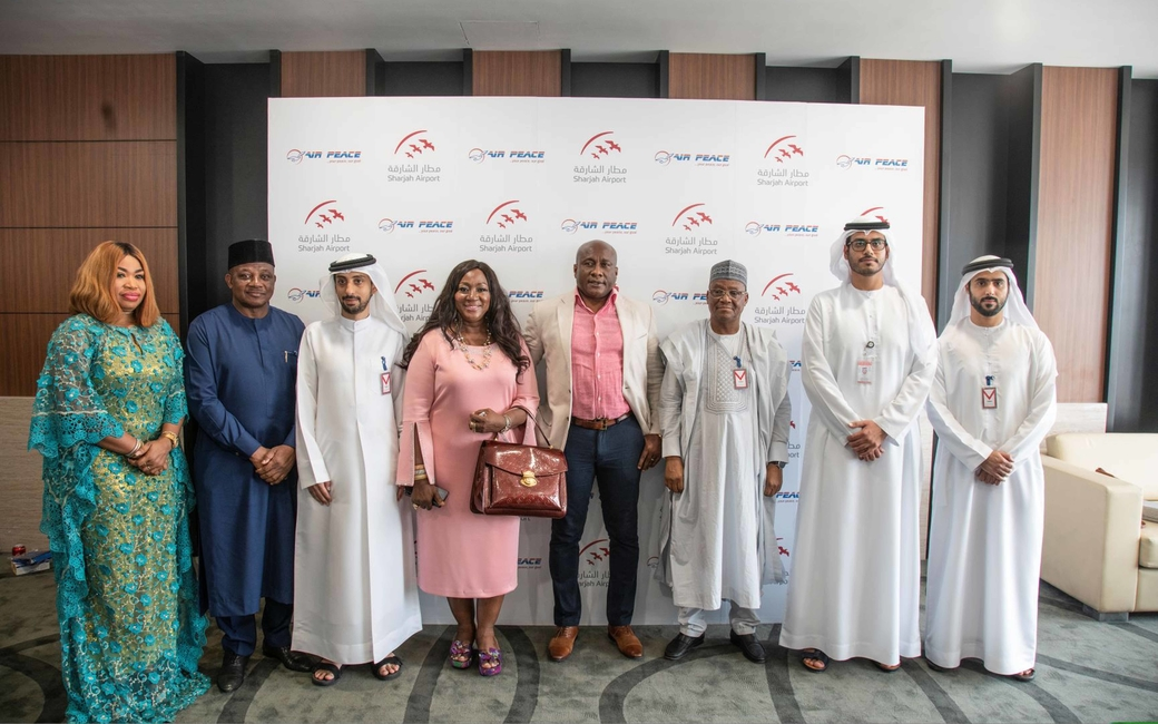 Sharjah Airport receives Air Peace's inaugural flight, which will now operate thrice weekly to Lagos