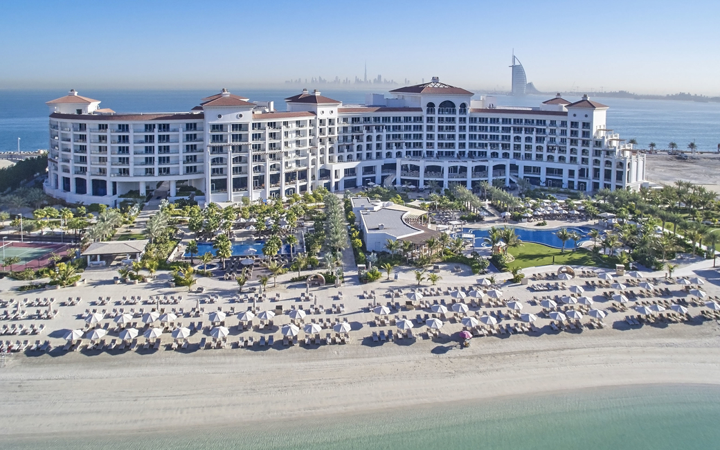 Situated on the Palm Jumeirah island, the Waldorf Astoria resort features 200 meters of private beach