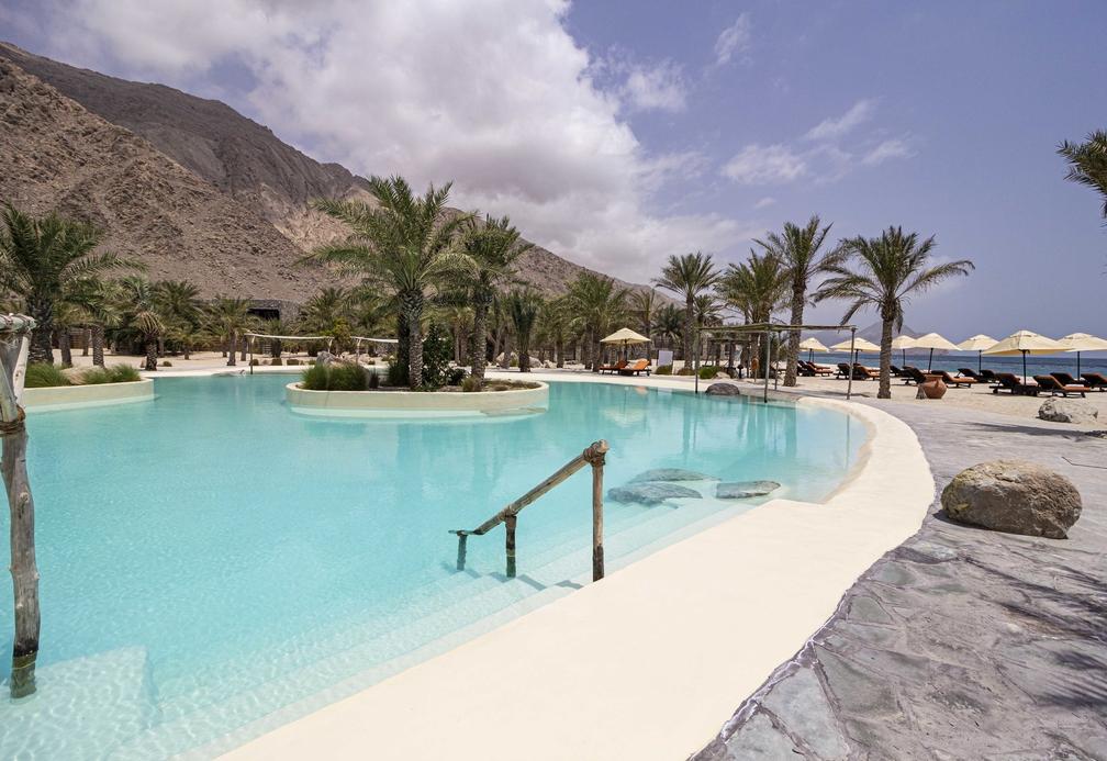 The salt water pool at Six Senses Zighy Bay