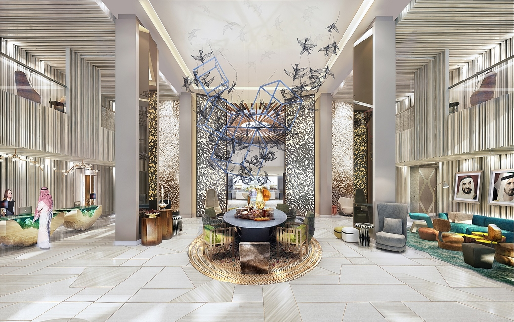 A rendering of the lobby of the Andaz Dubai The Palm.