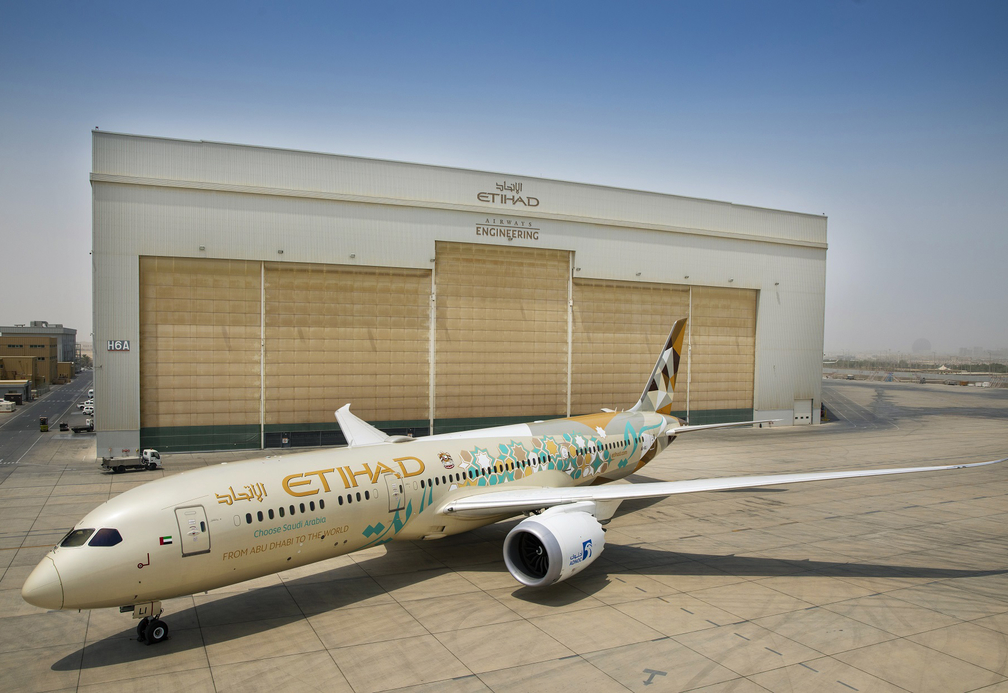 An Etihad Airways 787-9 Dreamliner with a comemorative livery
