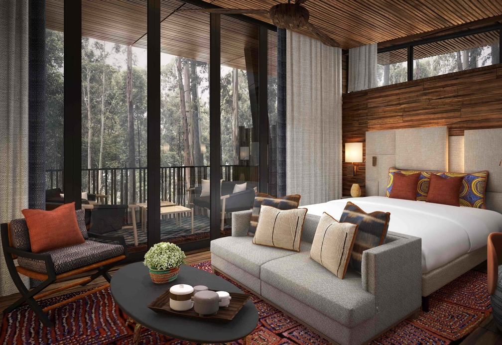 The resort is home to a collection of 21 jungle-chic rooms