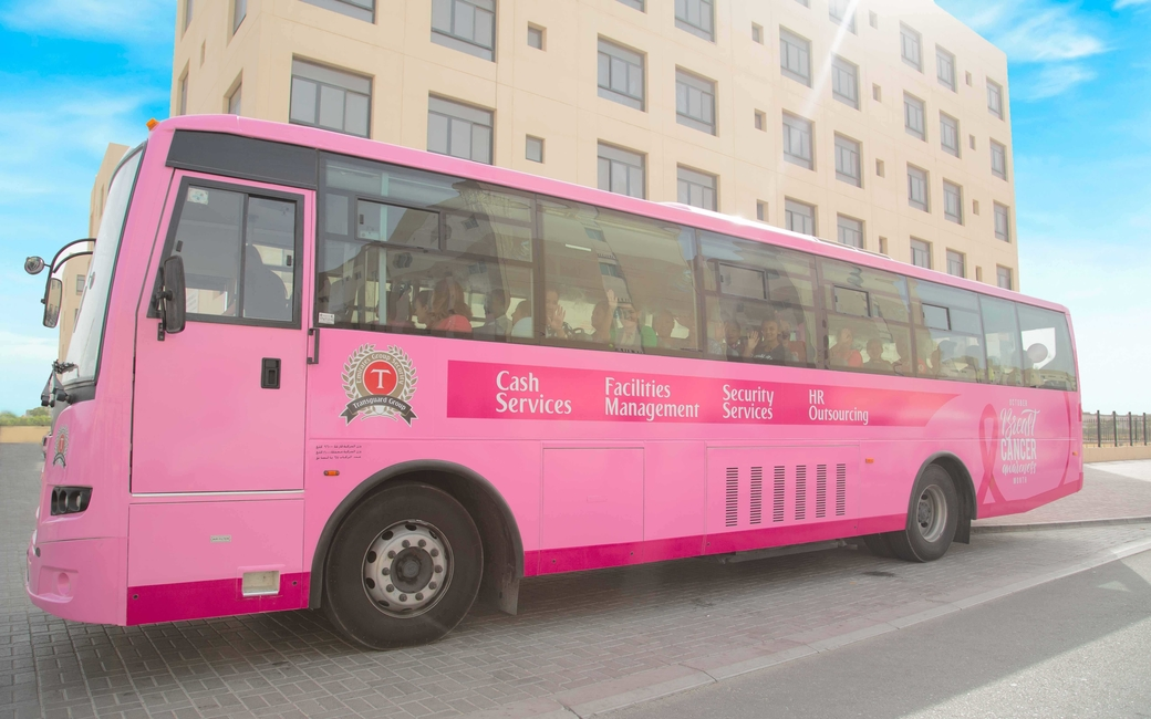Transgaurd Group will be utilising pink buses for Breast Cancer Awareness Month