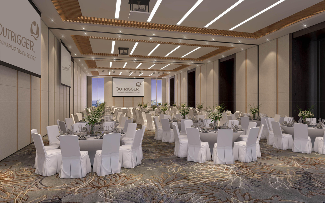 The main ballroom can be separated into three function spaces to create six meetings rooms
