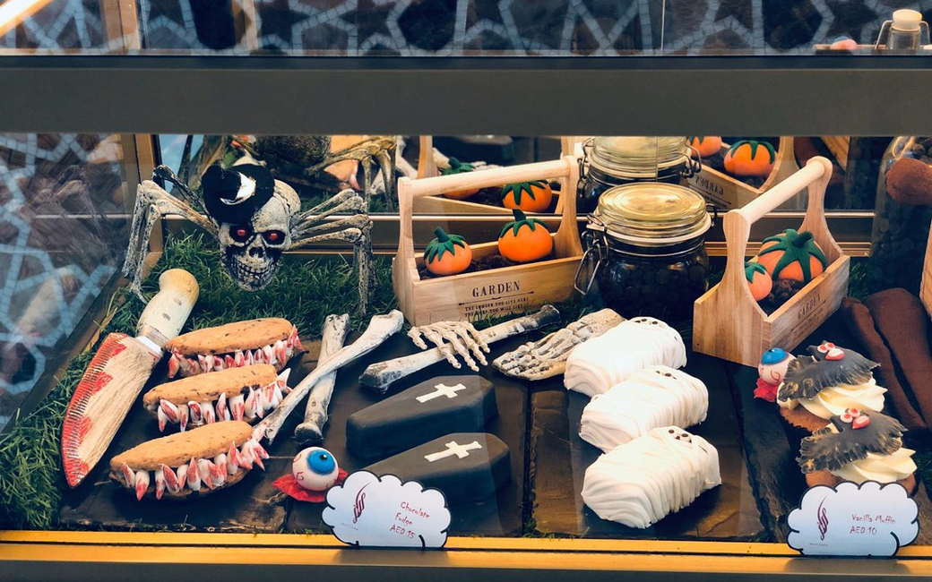 Halloween-themed sweet treats such as coffin chocolate fudge, mummy spice fruit cakes will be served at the lobby lounge