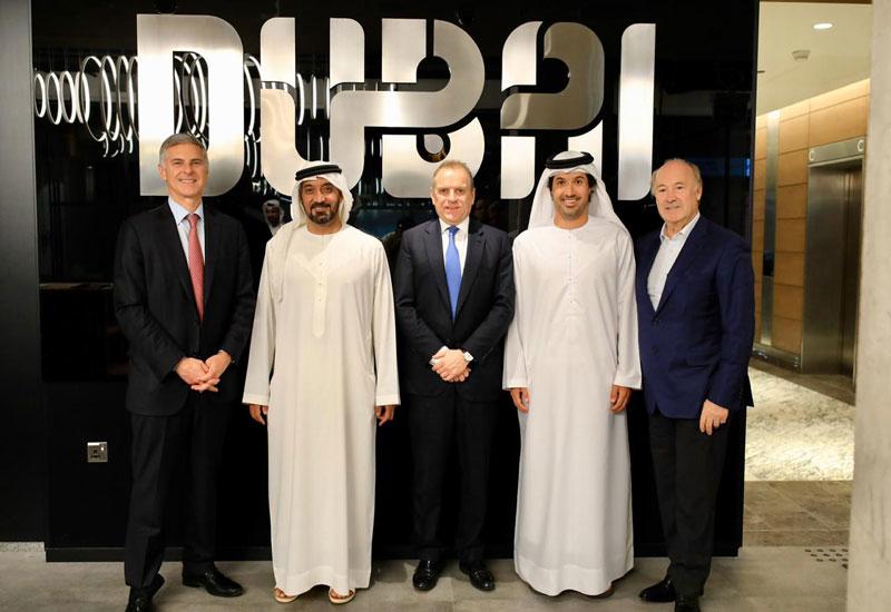 HH Sheikh Ahmed bin Saeed al Maktoum, HE Helal Saeed Almarri, and top Hilton executives