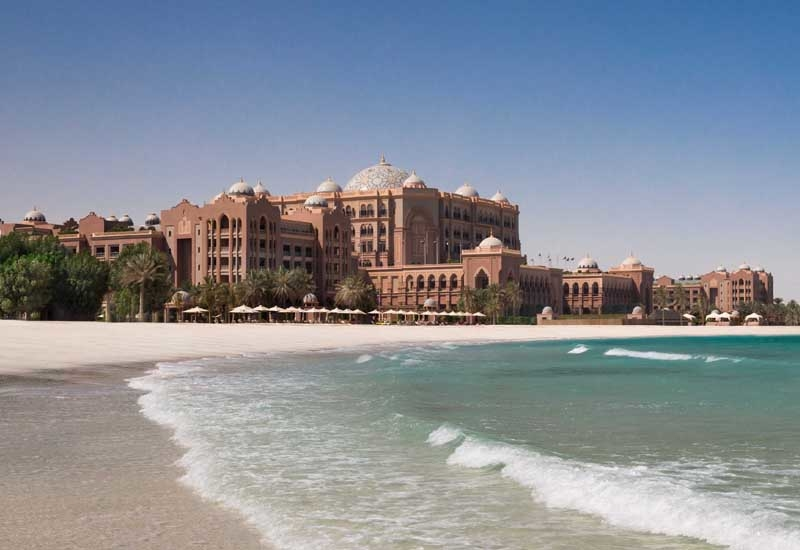 The Emirates Palace hotel sits on a 1.3-kilometre private beachfront, featuring 394 guestrooms and suites, 12 restaurants and bars, 40 meeting rooms, a concert grade auditorium and a ballroom that can accommodate up to 2,500 people