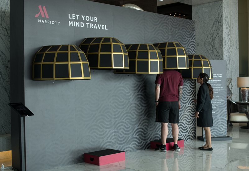 Each of the pods emit a scent to reflect the location of the Marriott hotel